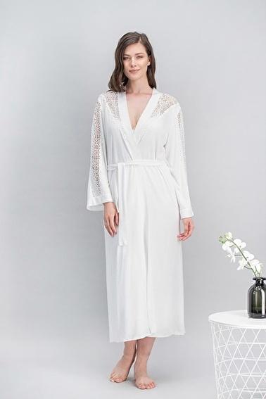 Arnetta Queen Bride Kadın Cuplı Uzun Gecelik, Sabahlık, Gömlek Pijama, Şort Takım Gelin 6'Lı Çeyiz Seti Ekru